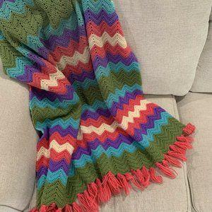 Hand Made Crochet Knit Granny Afghan Throw Blanket